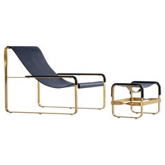 Set of Chaise Longue and Footstool, Brass Steel and Blue Leather, Modern Style