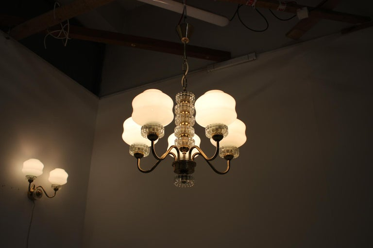 Set of Chandelier and Wall Lamp, 1970s For Sale 3