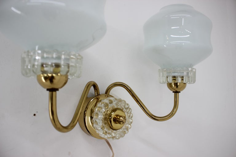 Czech Set of Chandelier and Wall Lamp, 1970s For Sale