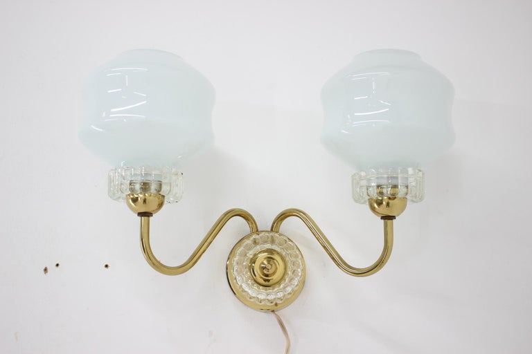 Brass Set of Chandelier and Wall Lamp, 1970s For Sale