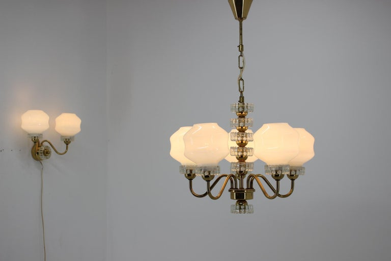 Set of Chandelier and Wall Lamp, 1970s For Sale 1