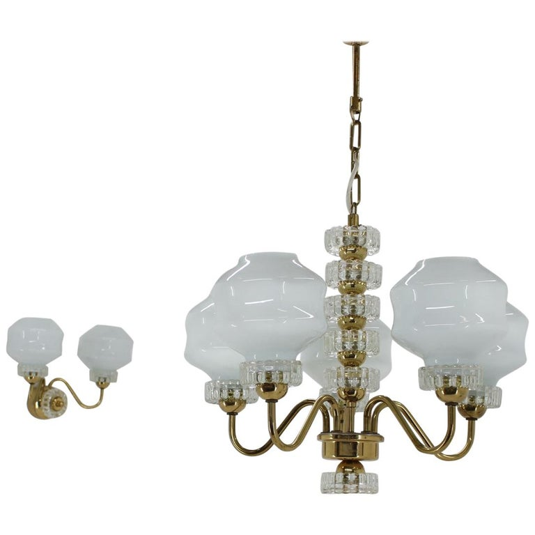 Set of Chandelier and Wall Lamp, 1970s For Sale