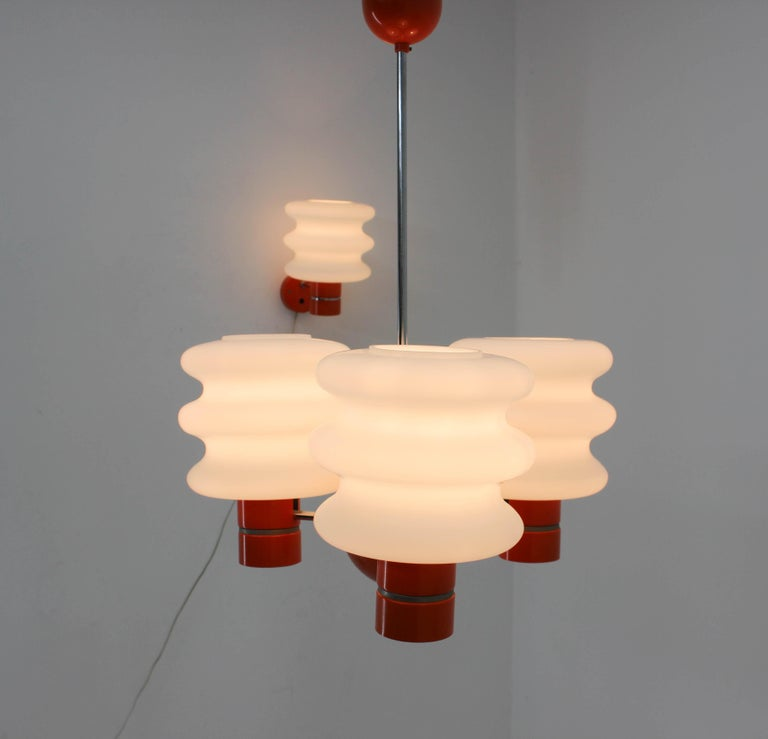 Set of Chandelier and Wall Lamp by Napako, 1970s For Sale 4