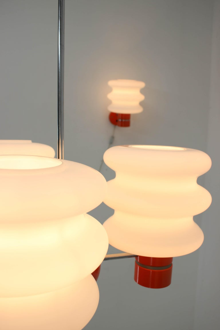 Set of Chandelier and Wall Lamp by Napako, 1970s For Sale 5