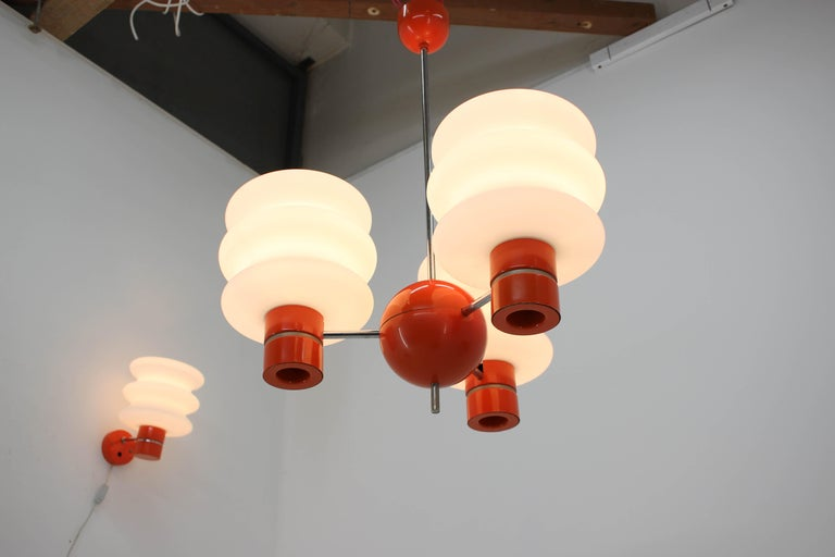 Space Age Set of Chandelier and Wall Lamp by Napako, 1970s For Sale