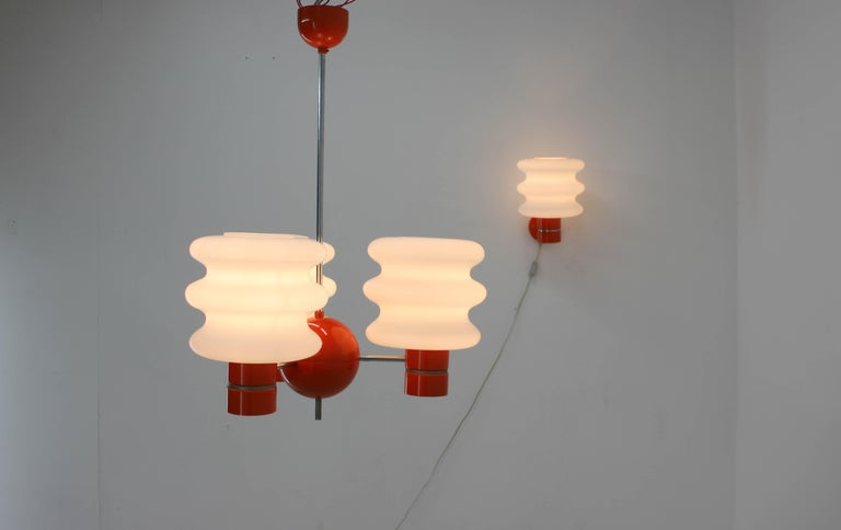Czech Set of Chandelier and Wall Lamp by Napako, 1970s For Sale