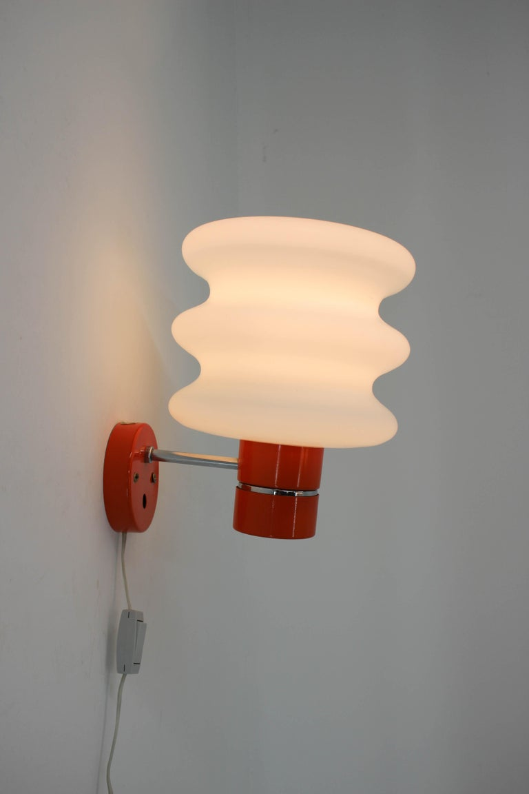Steel Set of Chandelier and Wall Lamp by Napako, 1970s For Sale