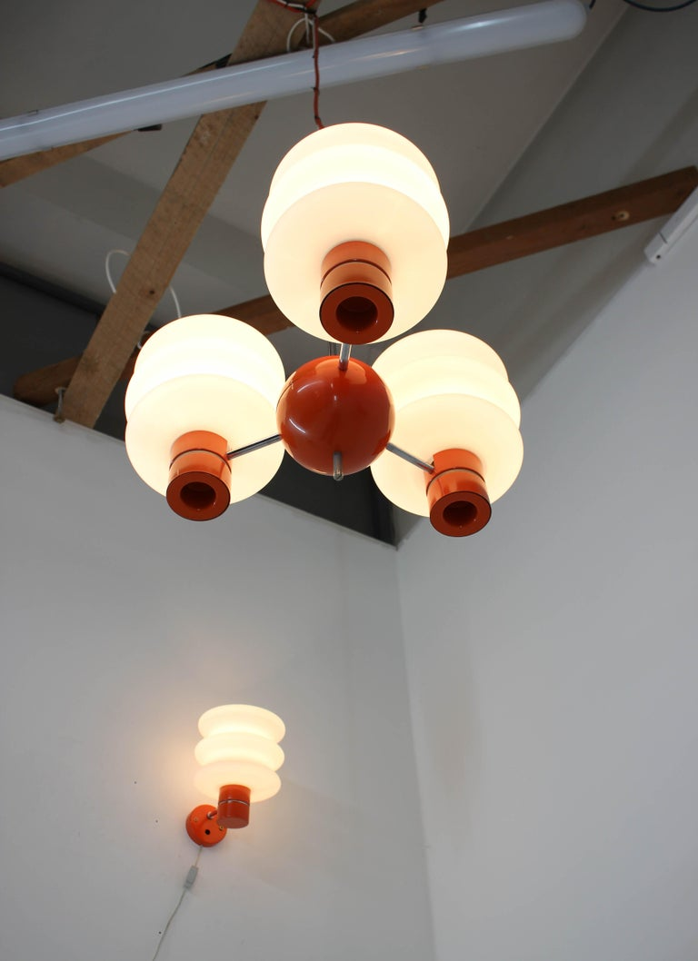 Set of Chandelier and Wall Lamp by Napako, 1970s For Sale 1