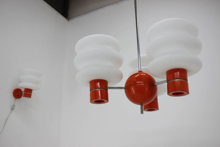 Set of Chandelier and Wall Lamp by Napako, 1970s For Sale 2