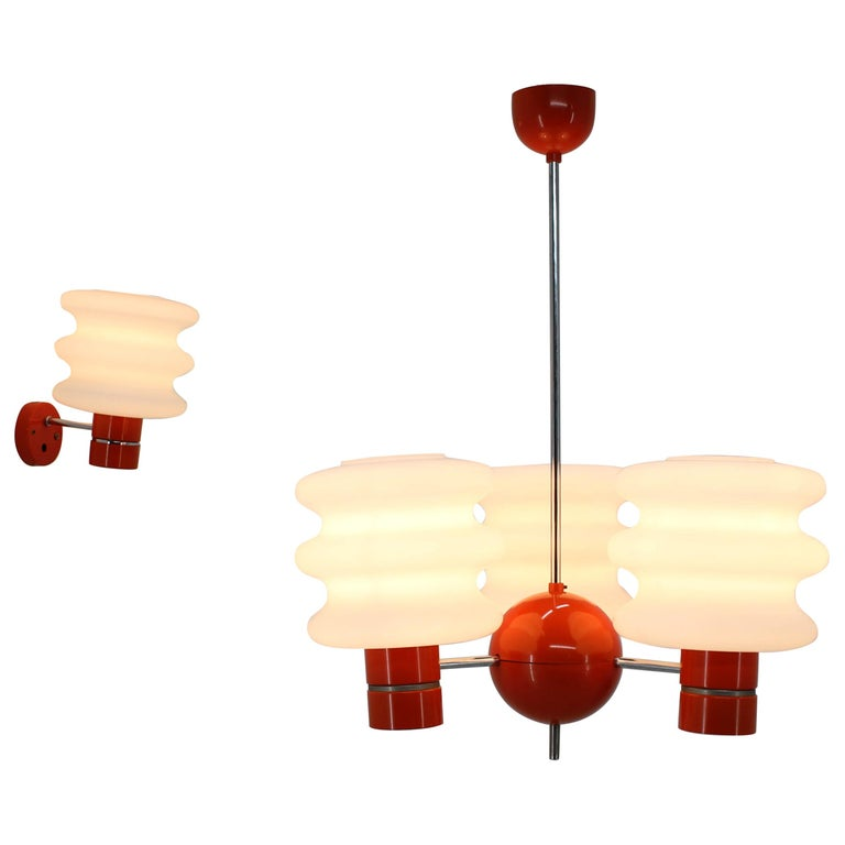 Set of Chandelier and Wall Lamp by Napako, 1970s For Sale