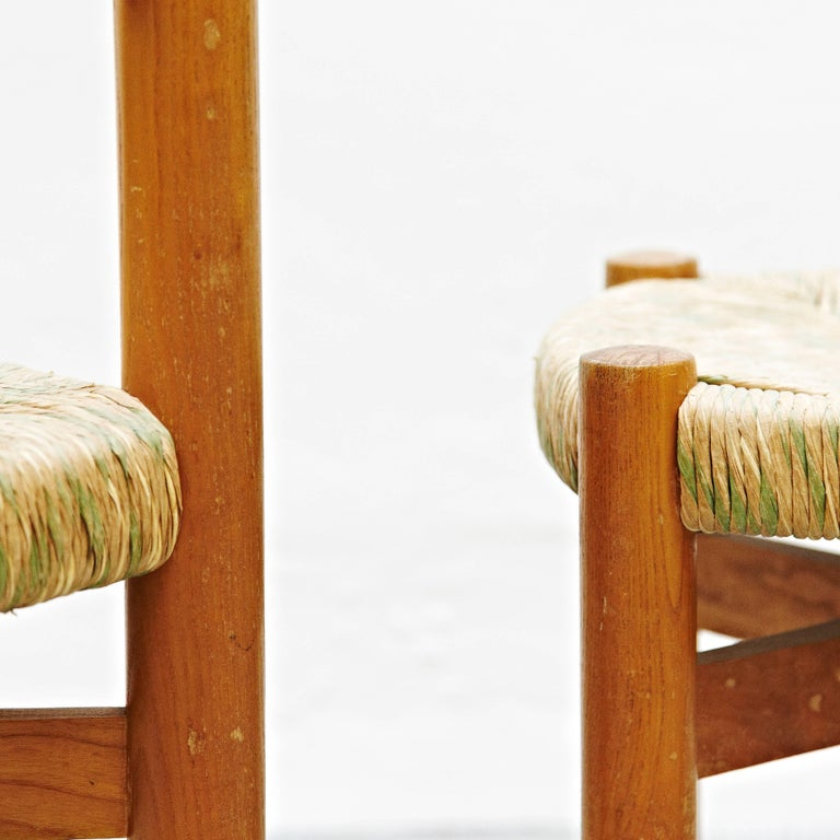 French Set of Charlotte Perriand Chair and Stool for Meribel, circa 1950 For Sale