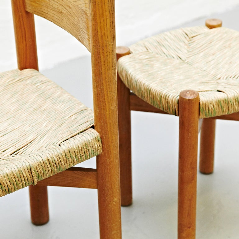 Set of Charlotte Perriand Chair and Stool for Meribel, circa 1950 In Good Condition For Sale In Barcelona, Barcelona