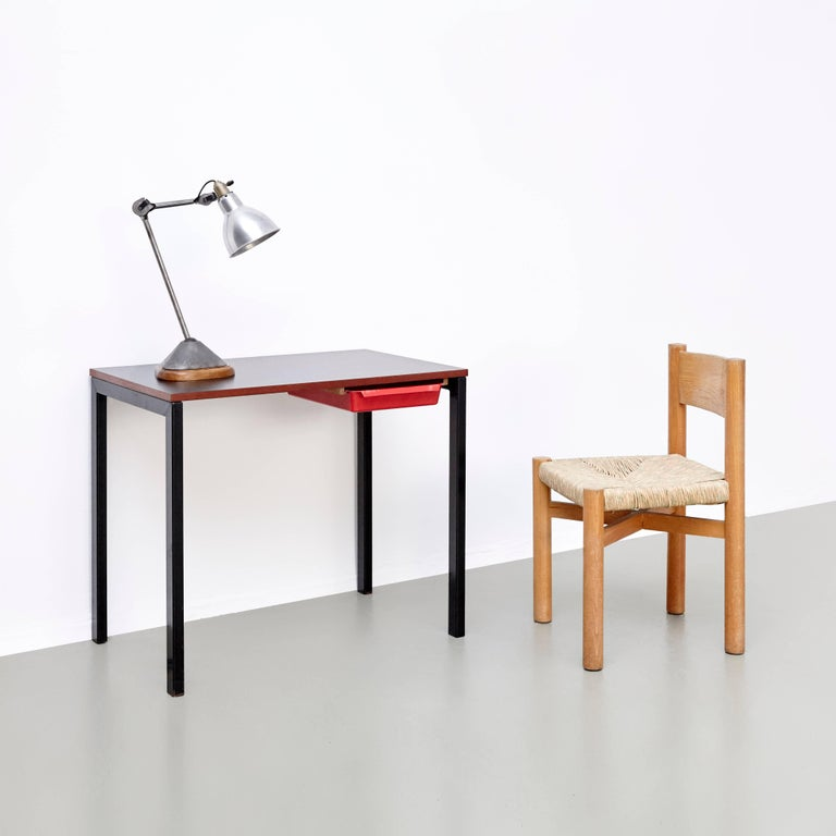 1950s Set of Charlotte Perriand Chair and Stool for Meribel, circa 1950 For Sale