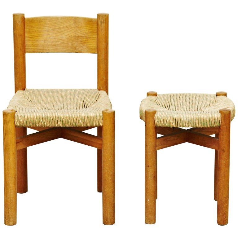 Set of Charlotte Perriand Chair and Stool for Meribel, circa 1950 For Sale
