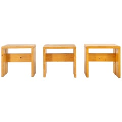 Set of Charlotte Perriand Pine Stools for Les Arcs