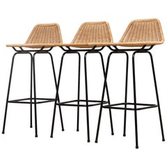 Set of Charlotte Perriand Style Wicker Bar Stools