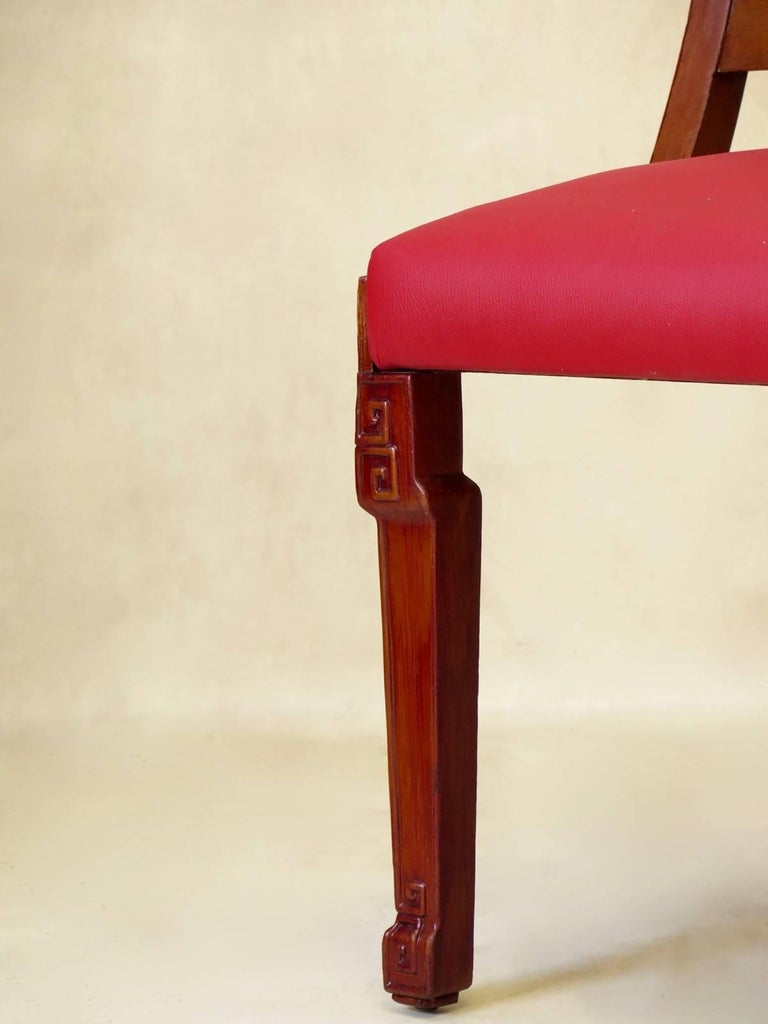 Set of Chinese Art Deco Style Dining Chairs, France, circa 1930s For Sale 4