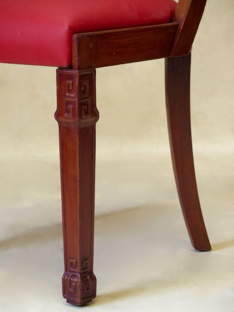 Set of Chinese Art Deco Style Dining Chairs, France, circa 1930s For Sale 5