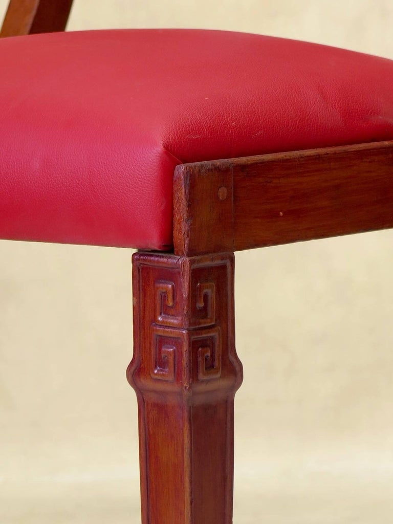 Set of Chinese Art Deco Style Dining Chairs, France, circa 1930s For Sale 6
