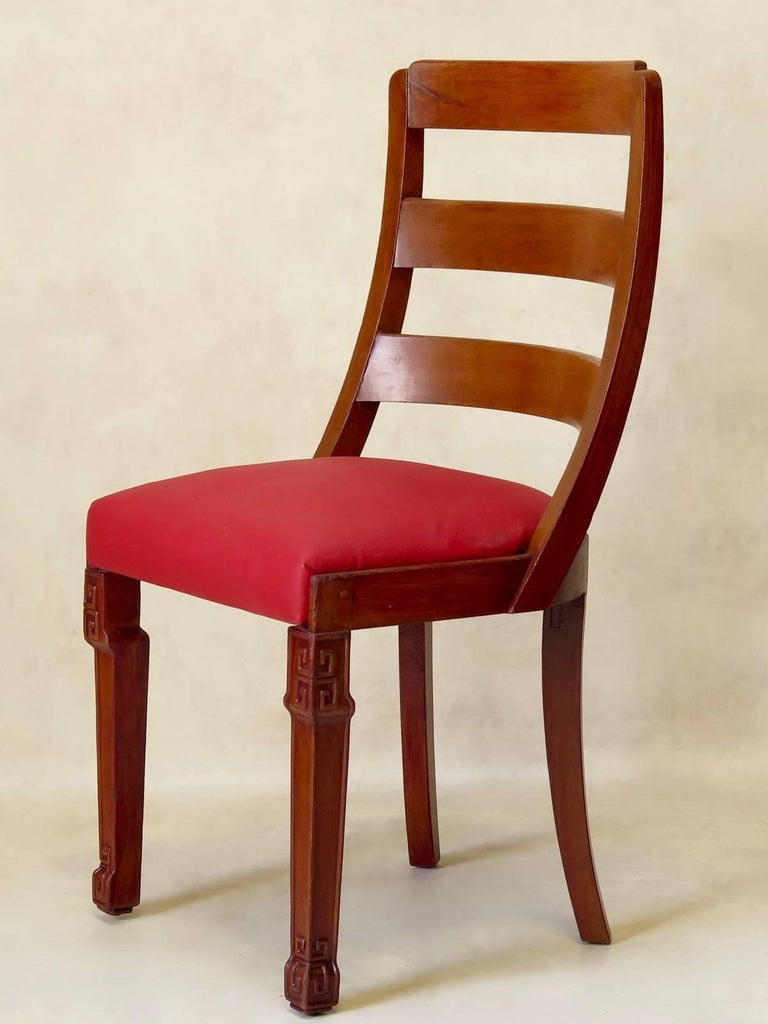 French Set of Chinese Art Deco Style Dining Chairs, France, circa 1930s For Sale