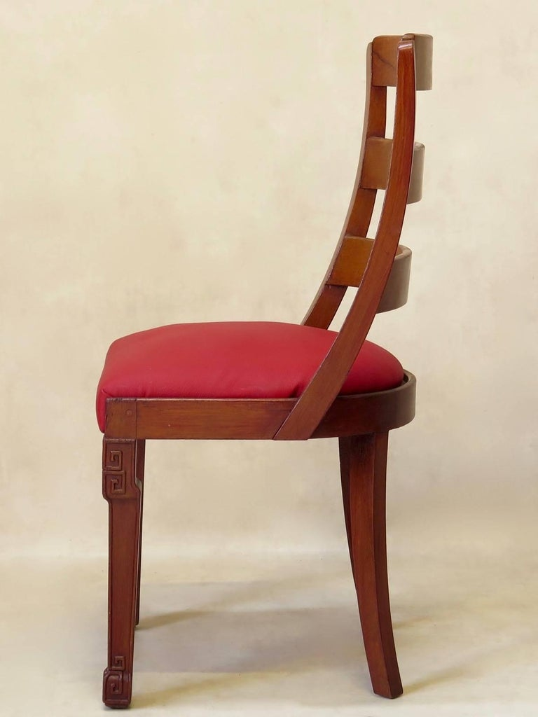 Varnished Set of Chinese Art Deco Style Dining Chairs, France, circa 1930s For Sale