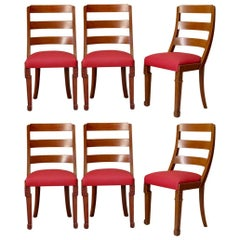 Set of Chinese Art Deco Style Dining Chairs, France, circa 1930s