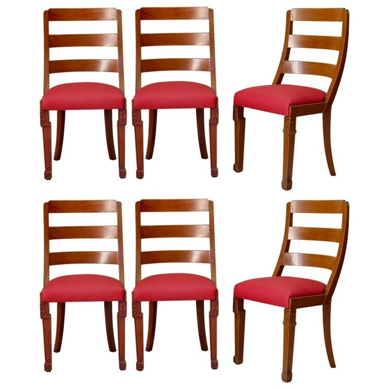 Set of Chinese Art Deco Style Dining Chairs, France, circa 1930s For Sale