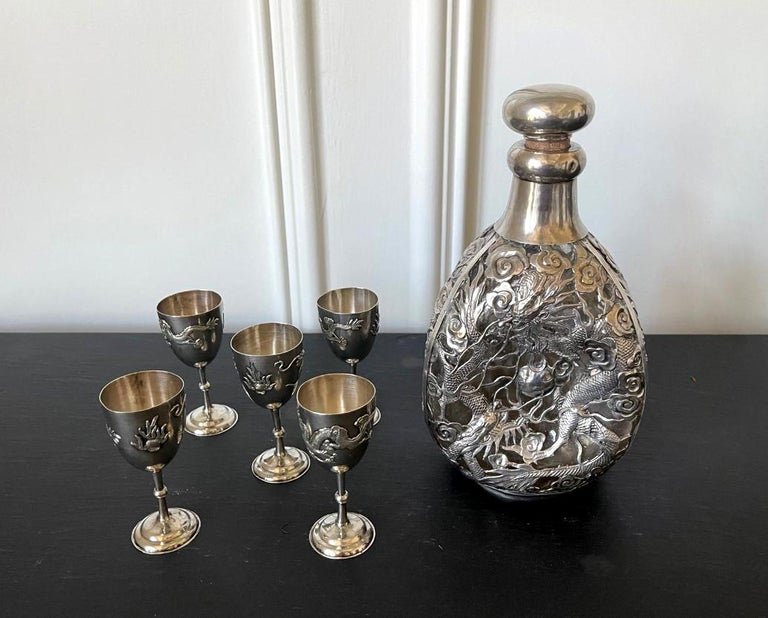 Set of Chinese Export Silver Overlay Bottle with Five Cordials Tianjin Wuhua In Good Condition For Sale In Atlanta, GA
