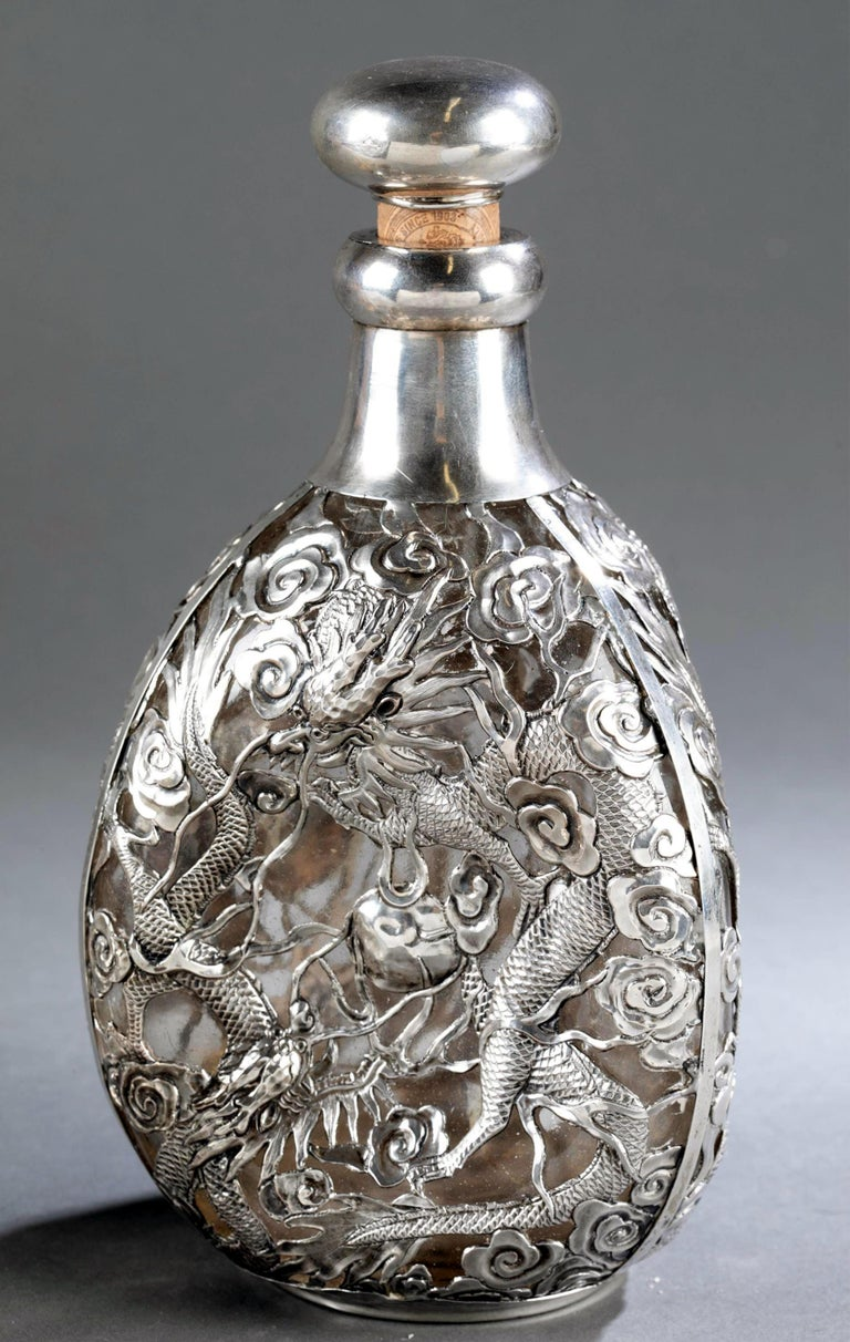 Set of Chinese Export Silver Overlay Bottle with Five Cordials Tianjin Wuhua For Sale 3