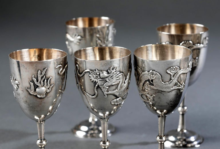 Set of Chinese Export Silver Overlay Bottle with Five Cordials Tianjin Wuhua For Sale 6