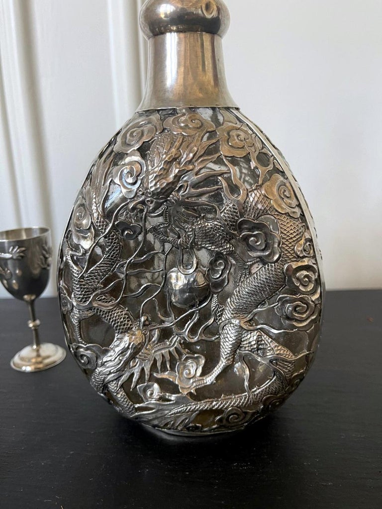 Set of Chinese Export Silver Overlay Bottle with Five Cordials Tianjin Wuhua For Sale 1