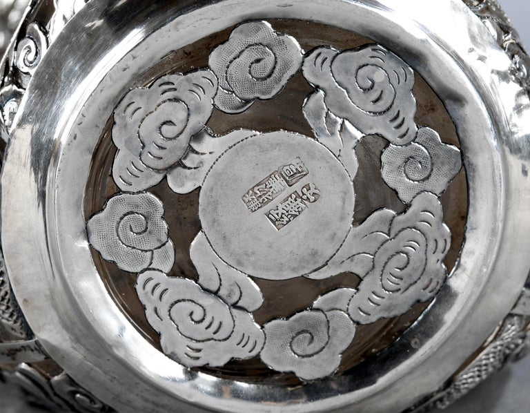 Set of Chinese Export Silver Overlay Bottle with Five Cordials Tianjin Wuhua For Sale 5