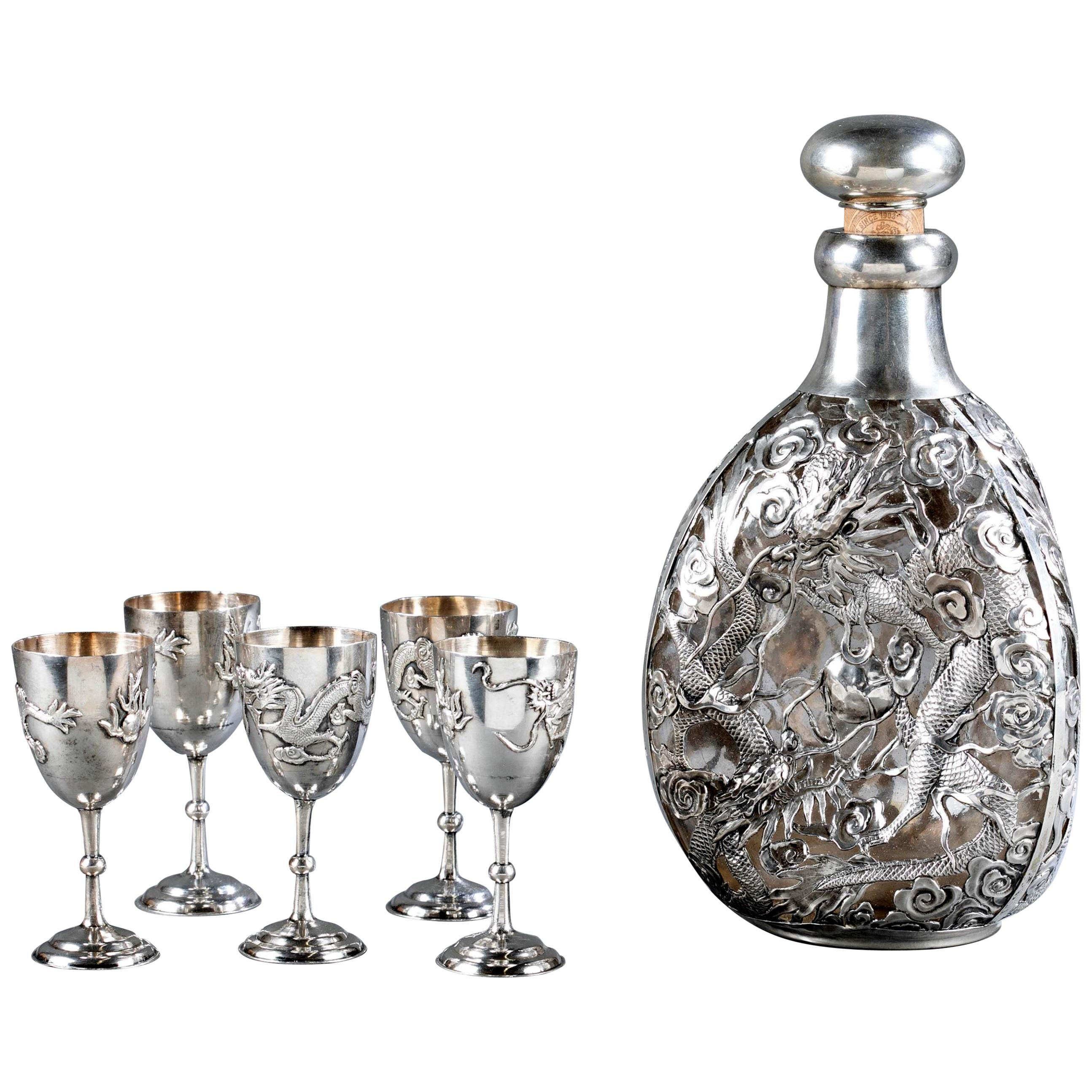 Set of Chinese Export Silver Overlay Bottle with Five Cordials Tianjin Wuhua