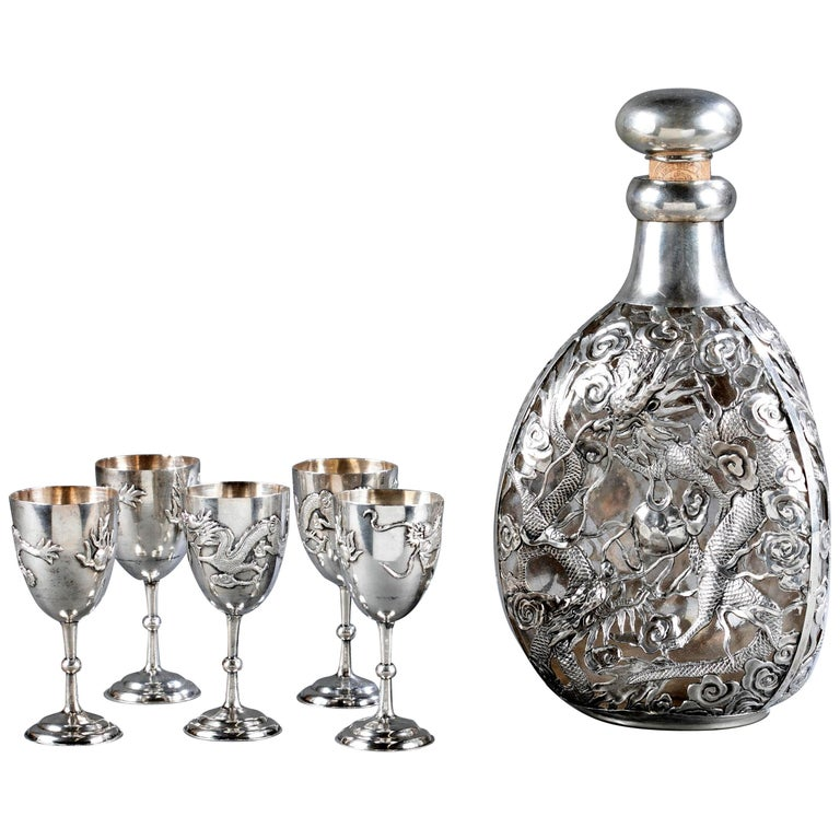Set of Chinese Export Silver Overlay Bottle with Five Cordials Tianjin Wuhua For Sale