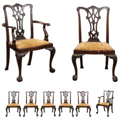 Set of Chippendale Style Mahogany Dining Chairs, England, circa 1870