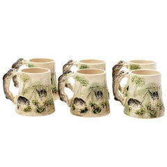 Set of Choisy Le Roi French Higgins and Seiter Majolica Bunny Rabbit Mugs