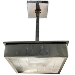 Set of Chrome and Glass Square Pendant Light Fixtures