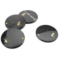 Set of Circular Coasters in Marquina Marble with Brass Inlay by Pieruga Marble