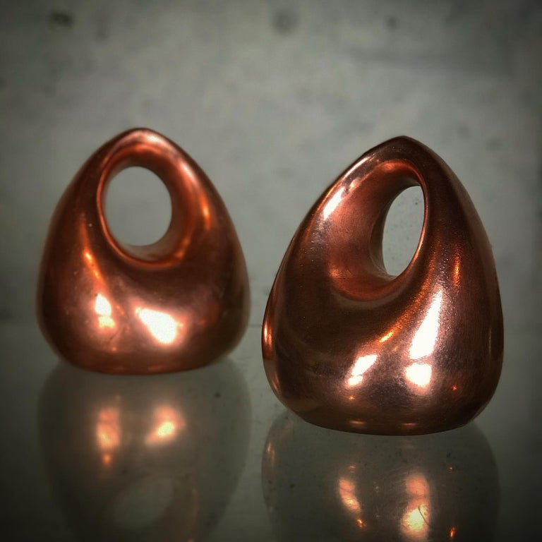 Mid Century Modern Bookends in Copper by Ben Seibel for Raymor For Sale 1