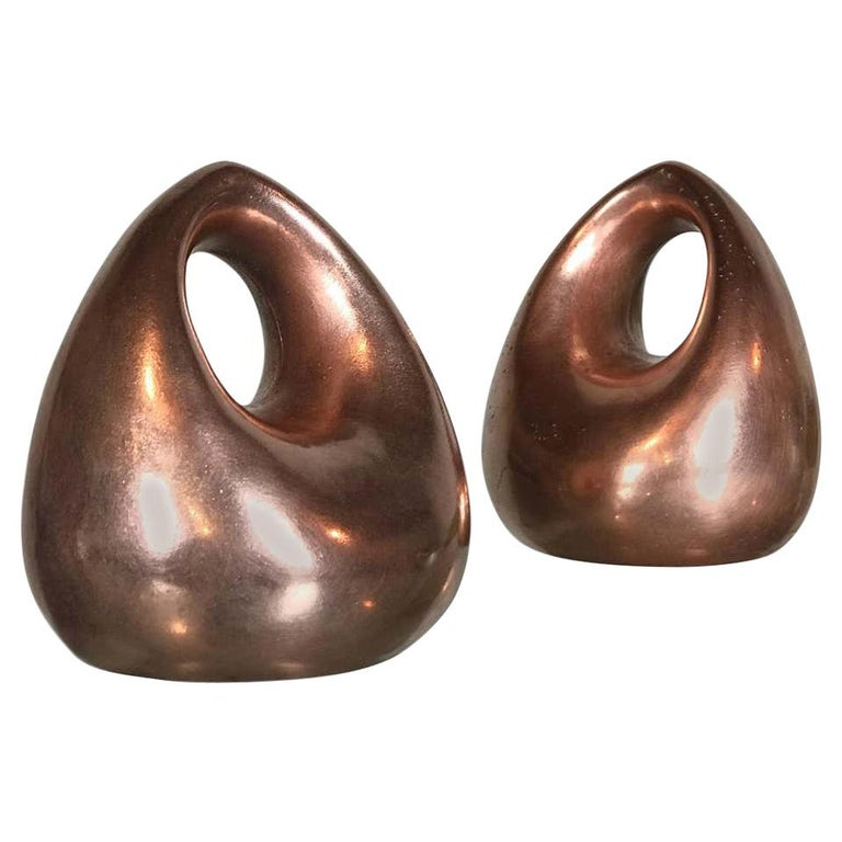 Mid Century Modern Bookends in Copper by Ben Seibel for Raymor For Sale