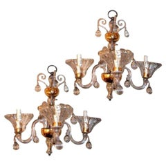 Set of Clear Murano Glass Sconces