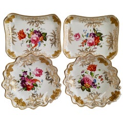 Set of Coalport Dessert Dishes, Grape-moulded, Gilt and Flowers, circa 1820