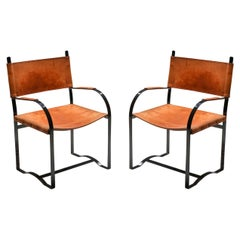 Set of Cognac Leather Armchairs Mid-Century Modern, 1960s