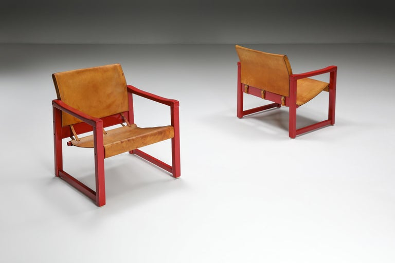 Cognac leather, Karin Mobring, safari chair, model diana, Ikea, Swedish design, 1970's  Beautiful leather safari chair (Model Diana) designed by Karin Mobring for Ikea, Sweden. The model is lounged in 1974. The study cognac leather is in good and
