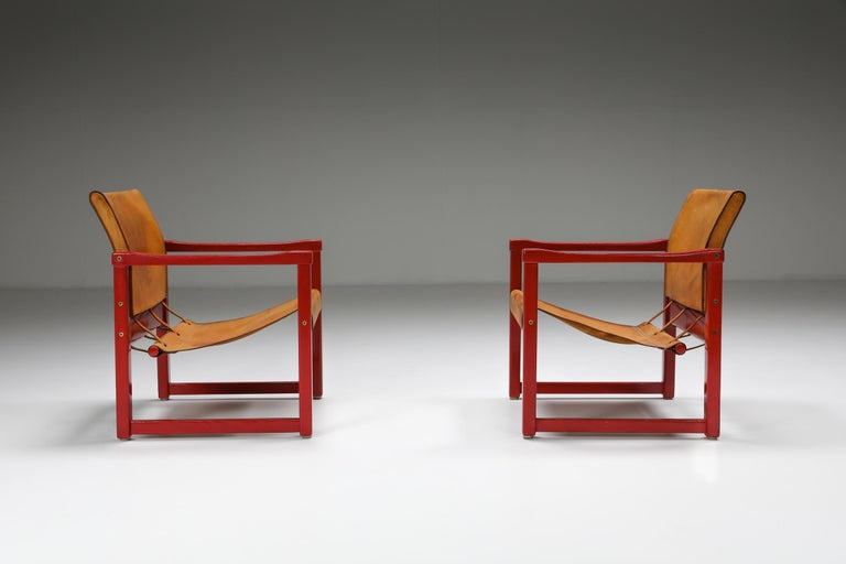 Mid-Century Modern Set of Cognac Leather Karin Mobring Safari Chair Model Diana by Ikea in Sweden For Sale