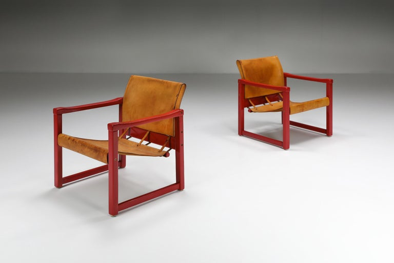 Swedish Set of Cognac Leather Karin Mobring Safari Chair Model Diana by Ikea in Sweden For Sale