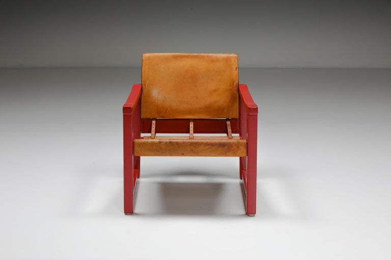 Set of Cognac Leather Karin Mobring Safari Chair Model Diana by Ikea in Sweden In Good Condition For Sale In Antwerp, BE