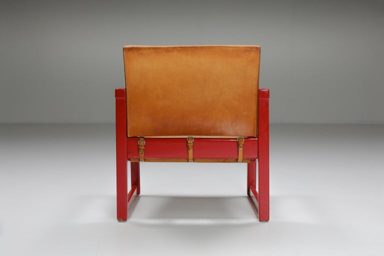 Set of Cognac Leather Karin Mobring Safari Chair Model Diana by Ikea in Sweden For Sale 2