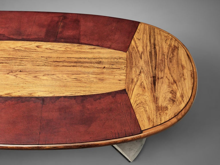 Set of Conference Table and Chairs in Walnut and Red Leather For Sale 5