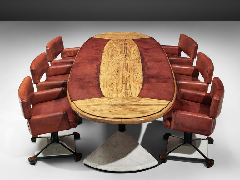 Set of conference table and six chairs, marble, walnut, metal, and leather, Italy, 1970s. 
